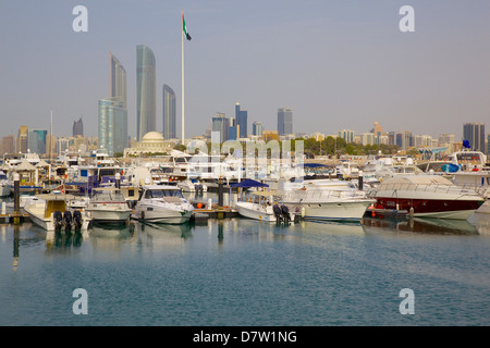 View of city from Marina Mall, Abu Dhabi, United Arab Emirates, Middle East - Stock Photo
