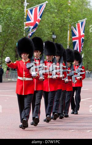 Irish Guards marching along The Mall, London, England, United Kingdom - Stock Photo
