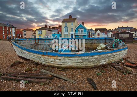 Old fishing boat on beach, Aldeburgh, Suffolk, England, United Kingdom - Stock Photo