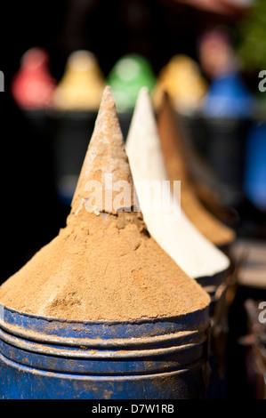 Spices in Market, Marrakesh Medina, Marrakesh, Morocco, North Africa - Stock Photo