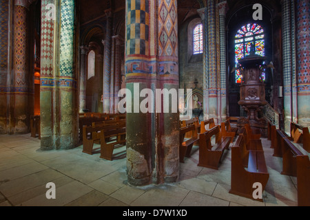 The painted interior of Eglise Notre Dame la Grande in central Poitiers, Vienne, Poitou-Charentes, France - Stock Photo