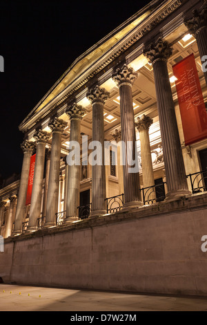 The National Gallery at night, London, England, United Kingdom. - Stock Photo