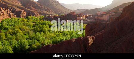 Panoramic landscape photo of Dades Gorge, Morocco, North Africa - Stock Photo