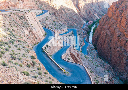 Steep winding road up the Dades Gorge, Dades Valley, Morocco, North Africa - Stock Photo