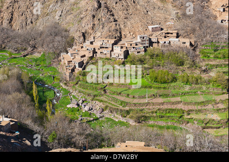 Berber village at the foot of Tizi n Tamatert, High Atlas Mountains, Morocco, North Africa - Stock Photo