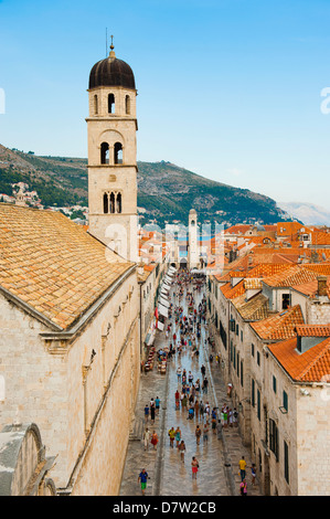 Dubrovnik Old Town, Stradun, Franciscan Monastery and City Bell Tower, UNESCO World Heritage Site, Dubrovnik, Croatia - Stock Photo