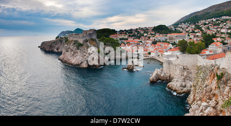 Fort Lovrijenac (St. Lawrence Fortress) and the coastline from the Old City Walls, Dubrovnik, Dalmatian Coast, Adriatic, - Stock Photo