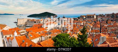 Dubrovnik Old Town and Lokrum Island from Dubrovnik City walls, Dalmatian Coast, Adriatic, Croatia - Stock Photo
