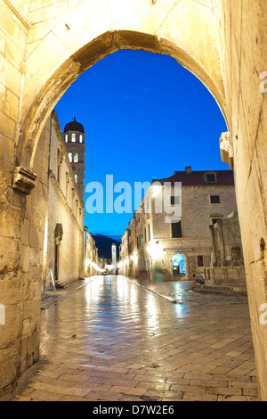 Stradun, the Franciscan Monastery and Old Town Bell Tower in Dubrovnik Old Town, UNESCO World Heritage Site, Dubrovnik, - Stock Photo