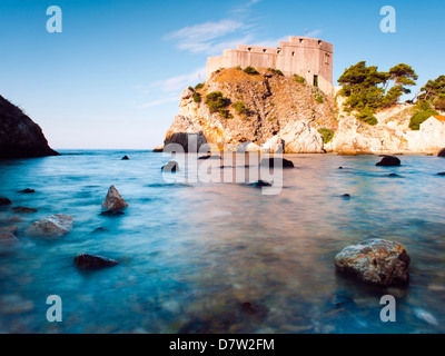 Fort Lovrijenac (St. Lawrence Fortress) at sunrise, Dubrovnik, Dalmatian Coast, Adriatic, Croatia - Stock Photo