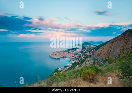 Dubrovnik Old Town and Mount Srd at sunrise, Dalmatian Coast, Adriatic, Croatia - Stock Photo