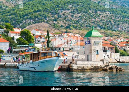Taxi boat to Zlatni Rat Beach, Bol Town, Brac Island, Dalmatian Coast, Adriatic, Croatia - Stock Photo