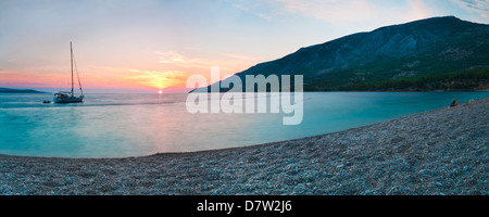 Brac Island, Zlatni Rat Beach at sunset, Bol, Dalmatian Coast, Adriatic, Croatia - Stock Photo