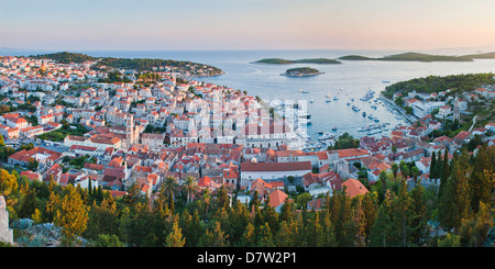Hvar Town at sunset taken from the Spanish Fort (Fortica), Hvar Island, Dalmatian Coast, Adriatic, Croatia - Stock Photo