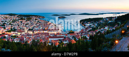 Hvar Town and the Pakleni Islands (Paklinski Islands) at night, Hvar Island, Dalmatian Coast, Adriatic Sea, Croatia - Stock Photo