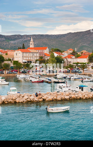 Orebic Harbour, where the ferry leaves mainland Croatia for Korcula Island, Dalmatian Coast, Adriatic, Croatia - Stock Photo