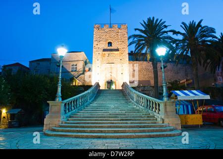 Valeki Revelin, the entrance to the Historic Town of Korcula, Korcula Island, Dalmatian Coast, Croatia - Stock Photo