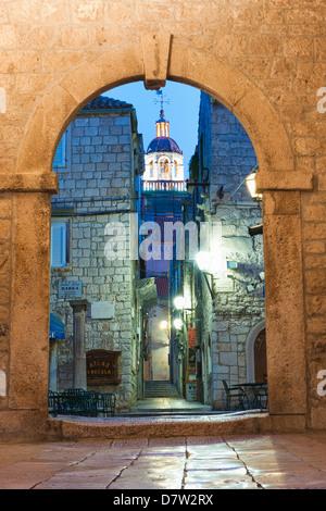 Korcula Revelin, the entrance to Old Korcula Town at night, Korcula Island, Dalmatia, Croatia - Stock Photo