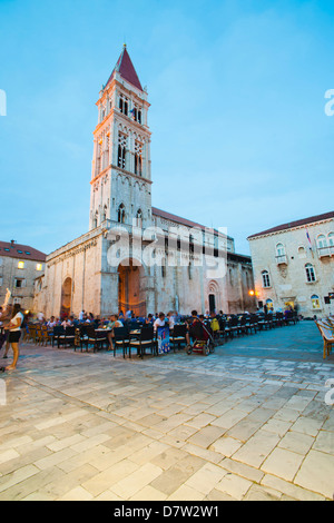 Cathedral of St. Lawrence at night, Trogir, UNESCO World Heritage Site, Dalmatian Coast, Croatia - Stock Photo