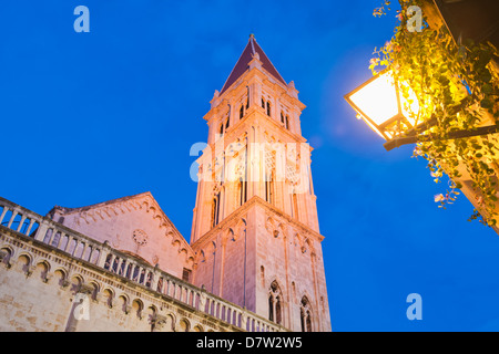 Cathedral of St. Lawrence (Katedrala Sv. Lovre) at night, Trogir, UNESCO World Heritage Site, Dalmatian Coast, Croatia - Stock Photo