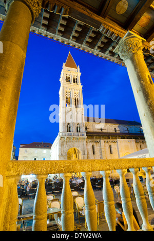 St. Lawrence Cathedral at night, Trogir, Dalmatian Coast, Croatia - Stock Photo