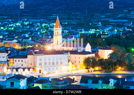 Cathedral of St. Lawrence (Katedrala Sv. Lovre) in Trogir at night, UNESCO World Heritage Site, Dalmatian Coast, - Stock Photo