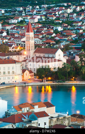Cathedral of St. Lawrence in Trogir at night, UNESCO World Heritage Site, Dalmatian Coast, Adriatic, Croatia - Stock Photo