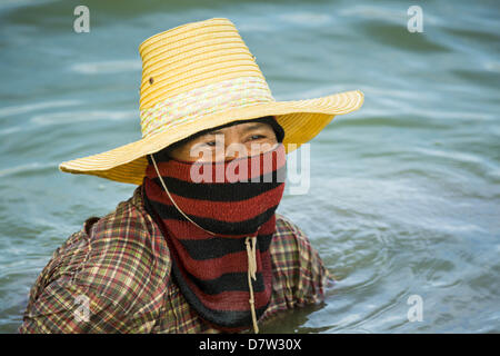Bangtathen, Saphun Buri, Thailand. May 14, 2013. A worker on a shrimp in Saphunburi. Early mortality syndrome, better - Stock Photo