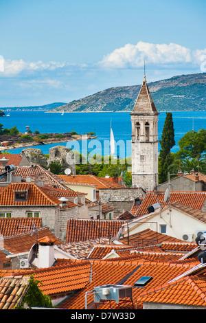 Spire of St. Michael Monastery and Church Belfry, Trogir, UNESCO World Heritage Site, Dalmatian Coast, Adriatic, - Stock Photo