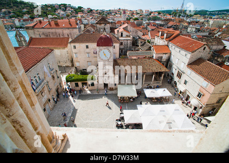 Loggia and St. Lawrence Square viewed from the Cathedral of St. Lawrence, Trogir, UNESCO World Heritage Site, Croatia - Stock Photo