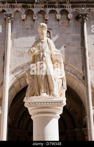 Statue of St. Lawrence, St. Lawrence Square, Trogir, UNESCO World Heritage Site, Dalmatia, Croatia - Stock Photo