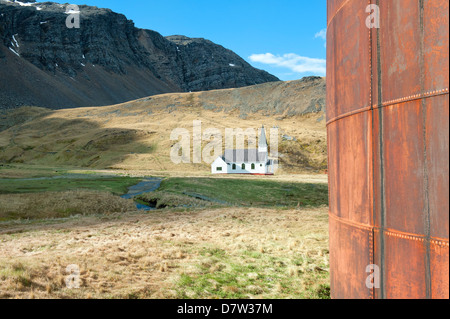 Whalers' Church, Former Grytviken Whaling Station, South Georgia - Stock Photo