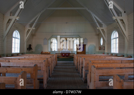 Interior of Whalers' Church, Former Grytviken Whaling Station, South Georgia - Stock Photo