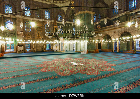Interior of Yeni Cami (New Mosque), Istanbul Old city, Turkey - Stock Photo