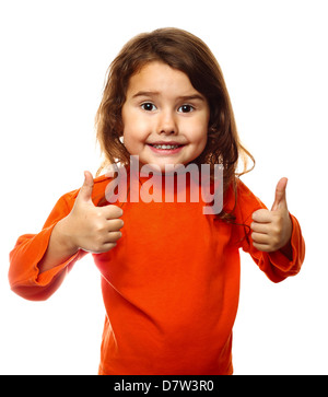 Little brunette child curly girl in an orange jacket, showing two thumbs up isolated on white background - Stock Photo