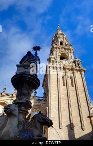 Cathedral and fountain in Praterias Plaza, Santiago de Compostela, UNESCO World Heritage Site, Galicia, Spain - Stock Photo