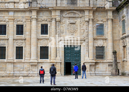 Cathedral entrance on Plaza Quintana, Santiago de Compostela, UNESCO World Heritage Site, Galicia, Spain - Stock Photo