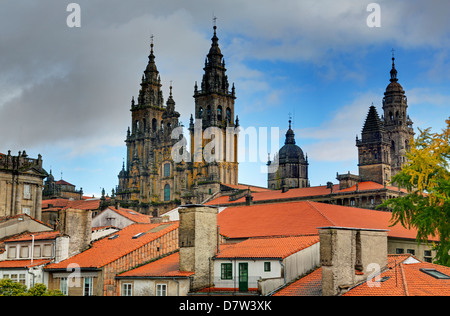 Cathedral spires in Old Town, Santiago de Compostela, UNESCO World Heritage Site, Galicia, Spain - Stock Photo
