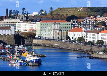 Fishing boats in harbour, Ponta Delgada City, Sao Miguel Island, Azores, Portugal, Atlantic - Stock Photo