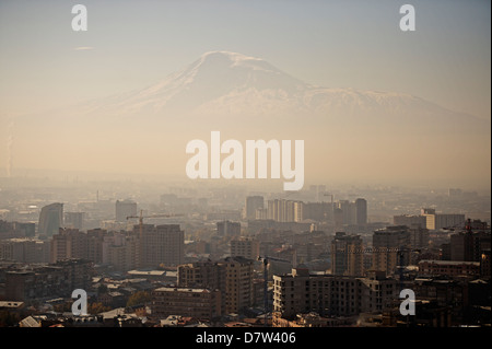 A view of Yerevan and Mount Ararat, Armenia, Central Asia - Stock Photo