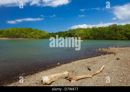 View across the Nosara River mouth towards the Biological Reserve, Nosara, Nicoya Peninsula, Guanacaste Province, - Stock Photo