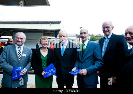 London,UK - 14 May 2013: The Mayor of London, Boris Johnson, Transport Commissioner, Sir Peter Hendy CBE, David - Stock Photo