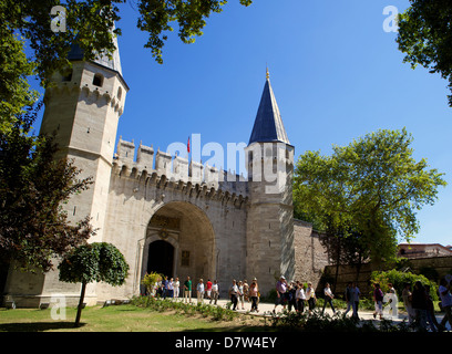 The Sultans Topkapi Palace entrance, Istanbul, Turkey - Stock Photo