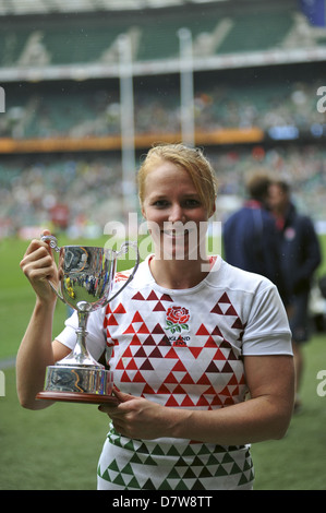 Michaela Staniford (Wing/Centre and Captain) holding the winners cup after the England won the Women's Invitational - Stock Photo