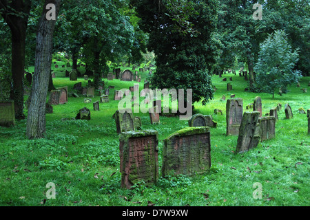 An old, abandoned Jewish cemetery in Germany - Stock Photo