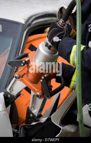 London 14th May 2013:  The London Fire Brigade's 'extrication' team with the Vehicle and Operator Services Agency - Stock Photo