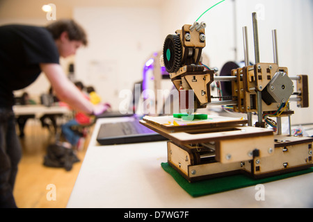 A demonstration of 3D Three dimensional computer printing technology, UK - Stock Photo