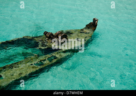 Aerial view of old wreck in a tropical beach, - Stock Photo