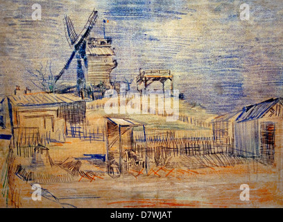 Gardens on Montmartre and the Blute fin Windmill 1887 Vincent van Gogh 1853 - 1890  Dutch Netherlands Post Impressionism