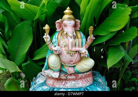 Asia Malaysia Penang Hindu Temple on Penang Hill Statue of Lord Ganesh - Stock Photo